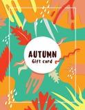 Επίπεδη σύγχρονη κάρτα φθινοπώρου Νοεμβρίου Στοκ Εικόνες