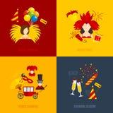 Επίπεδη σύνθεση εικονιδίων καρναβαλιού Στοκ Φωτογραφίες