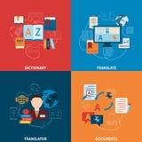 Επίπεδη σύνθεση εικονιδίων μεταφράσεων και λεξικών Στοκ Φωτογραφίες