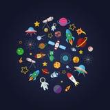 Επίπεδη σύνθεση σχεδίου των διαστημικών εικονιδίων Στοκ Εικόνες