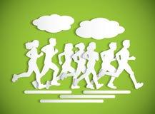 Επίπεδη τρέχοντας σκιαγραφία διακοπής αθλητικού maraphone ανθρώπων διανυσματική απεικόνιση