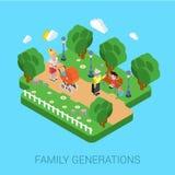 Επίπεδη τρισδιάστατη έννοια ανθρώπων παιδιών παιδιών οικογενειακών parenting γενεών Στοκ Εικόνα