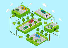 Επίπεδη τρισδιάστατη πράσινη ενεργειακή έννοια eco αυτοκινήτων Ιστού isometric ηλεκτρική Στοκ Εικόνες