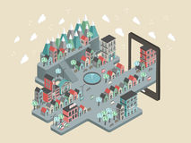 Επίπεδη τρισδιάστατη isometric απεικόνιση τοπίου πόλεων Στοκ Εικόνες