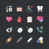 Επίπεδη υγειονομική περίθαλψη ύφους χρώματος και ιατρικά εικονίδια καθορισμένες Στοκ Φωτογραφίες