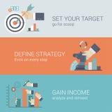 Επίπεδη infographic έννοια στόχων στρατηγικής επιχειρησιακής επιτυχίας ύφους Στοκ Εικόνες