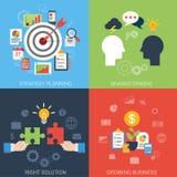 Επίπεδη infographic έννοια στόχων στρατηγικής επιχειρησιακής επιτυχίας ύφους Στοκ Φωτογραφίες