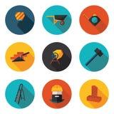 Επίπεδοι τοίχοι κατασκευής εικονιδίων Στοκ φωτογραφία με δικαίωμα ελεύθερης χρήσης