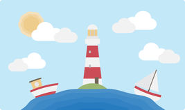 Επίπεδοι φάρος και βάρκες Στοκ εικόνα με δικαίωμα ελεύθερης χρήσης