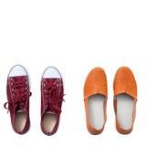 Επίπεδος βάλτε τη μόδα καθορισμένη: χρωματισμένα παπούτσια παντοφλών στο άσπρο ξύλινο υπόβαθρο Τοπ όψη Στοκ φωτογραφία με δικαίωμα ελεύθερης χρήσης