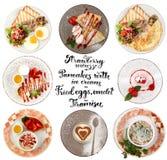 Επίπεδος βάλτε το κολάζ ύφους των διάφορων πιάτων των γευμάτων Στοκ Εικόνες