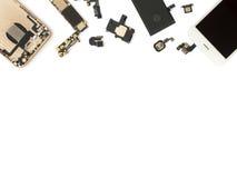 Επίπεδος βάλτε των έξυπνων τηλεφωνικών τμημάτων απομονώνει στοκ εικόνες