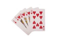 επίπεδος βασιλικός οι κάρτες ξεπλένουν το πόκερ παιχνιδιού βασιλικό Στοκ Εικόνες