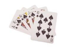 επίπεδος βασιλικός οι κάρτες ξεπλένουν το πόκερ παιχνιδιού βασιλικό Στοκ φωτογραφίες με δικαίωμα ελεύθερης χρήσης
