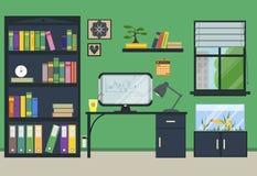 Επίπεδος εργασιακός χώρος σπιτιών ή γραφείων Στοκ φωτογραφίες με δικαίωμα ελεύθερης χρήσης