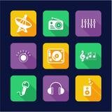 Επίπεδος κύκλος σχεδίου εικονιδίων ραδιοσταθμών απεικόνιση αποθεμάτων