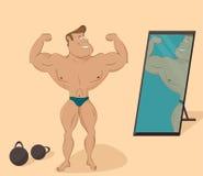 Επίπεδος μυϊκός αθλητής στον καθρέφτη cartoon ελεύθερη απεικόνιση δικαιώματος