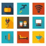 Επίπεδος ξενώνας θέματος εικονιδίων με το διανυσματικό σχήμα Στοκ Εικόνες