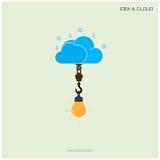 Επίπεδος υπολογισμός τεχνολογίας σύννεφων και δημιουργική έννοια ιδέας βολβών Στοκ φωτογραφία με δικαίωμα ελεύθερης χρήσης