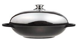 Επίπεδος-φταμένο wok τηγάνι που καλύπτεται από το καπάκι μετάλλων στοκ φωτογραφία με δικαίωμα ελεύθερης χρήσης