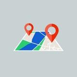 Επίπεδος χάρτης με την καρφίτσα piont Στοκ Εικόνες