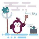 Επίπεδος χαρακτήρας penguin τυποποιημένος ως αρχιμάγειρα με το ξύλινο κουτάλι και με το δοχείο ελεύθερη απεικόνιση δικαιώματος