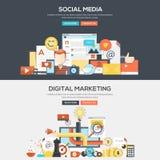 Επίπεδο έμβλημα έννοιας σχεδίου - κοινωνικό MEDIA και ψηφιακό μάρκετινγκ διανυσματική απεικόνιση