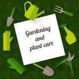 Επίπεδο έμβλημα σχεδίου για την κηπουρική και την προσοχή εγκαταστάσεων Στοκ Εικόνες
