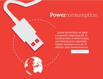 Επίπεδο έμβλημα της δύναμης και της ενέργειας - διάνυσμα αποταμίευσης Στοκ εικόνες με δικαίωμα ελεύθερης χρήσης