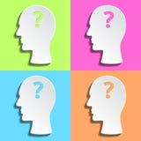 Επίπεδο ανθρώπινο κεφάλι με το ερωτηματικό μέσα Στοκ φωτογραφία με δικαίωμα ελεύθερης χρήσης