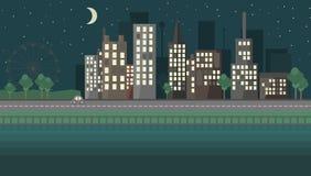 Επίπεδο αστικό τοπίο νύχτας σχεδίου Στοκ Εικόνες