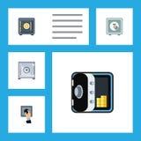 Επίπεδο ασφαλές σύνολο εικονιδίων αποταμίευσης, χρηματοκιβωτίου, τραπεζικών εργασιών και άλλων διανυσματικών αντικειμένων Επίσης  Στοκ φωτογραφία με δικαίωμα ελεύθερης χρήσης