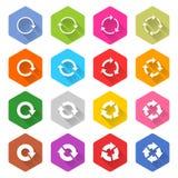 Επίπεδο βελών ξαναφορτωμάτων κουμπί Ιστού εικονιδίων hexagon Στοκ Φωτογραφία