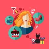Επίπεδο εικονίδιο αγορών γυναικών Διανυσματικό σύνολο infographic Στοκ Φωτογραφία