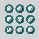 Επίπεδο εικονίδιο αθλητικών σφαιρών για τον Ιστό και κινητό set01 Στοκ Φωτογραφίες