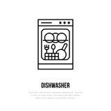 Επίπεδο εικονίδιο γραμμών πλυντηρίων πιάτων Σημάδι οικιακών συσκευών Διανυσματική απεικόνιση του καταστήματος εξοπλισμού σπιτιών  ελεύθερη απεικόνιση δικαιώματος