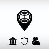 Επίπεδο εικονίδιο δεικτών χαρτών, διανυσματική απεικόνιση Επίπεδο ύφος σχεδίου Στοκ Φωτογραφίες