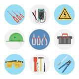 Επίπεδο εικονίδιο εννέα χρώματος καθορισμένο - ηλεκτρικά εργαλεία απεικόνιση αποθεμάτων