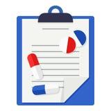 Επίπεδο εικονίδιο ιατρικών αναφορών, ταμπλετών & χαπιών απεικόνιση αποθεμάτων