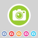Επίπεδο εικονίδιο καμερών φωτογραφιών Στοκ φωτογραφία με δικαίωμα ελεύθερης χρήσης