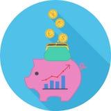 Επίπεδο εικονίδιο οικονομίας Στοκ Εικόνα