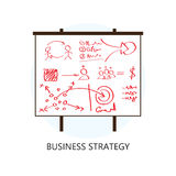 Επίπεδο εικονίδιο σχεδίου έννοιας επιχειρησιακής στρατηγικής Στοκ Εικόνες