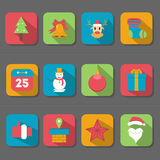 Επίπεδο εικονίδιο σχεδίου Χριστουγέννων απεικόνιση αποθεμάτων