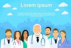Επίπεδο εικονίδιο σχεδιαγράμματος ομάδας γιατρών ιατρικής ομάδας Στοκ εικόνα με δικαίωμα ελεύθερης χρήσης