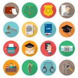 Επίπεδο εικονιδίων νόμου που τίθεται με την κριτική επιτροπή δικαστηρίων φυλακών δικηγόρων Στοκ Εικόνες