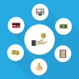 Επίπεδο εισερχόμενο σύνολο εικονιδίων πληρωμής, κιβώτιο χρημάτων, χέρι με τα διανυσματικά αντικείμενα νομισμάτων Επίσης περιλαμβά Στοκ φωτογραφίες με δικαίωμα ελεύθερης χρήσης