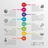 Επίπεδο ζωηρόχρωμο αφηρημένο διάνυσμα infographics υπόδειξης ως προς το χρόνο Στοκ εικόνα με δικαίωμα ελεύθερης χρήσης