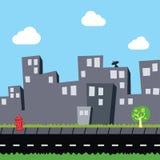 Επίπεδο θέμα κινούμενων σχεδίων άποψης πόλεων απεικόνιση αποθεμάτων