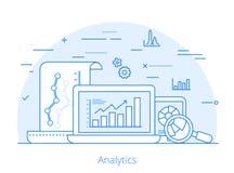Επίπεδο διάνυσμα ιστοχώρου analytics μάρκετινγκ Lineart Στοκ Εικόνες