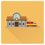 Επίπεδο διάνυσμα σχεδίου κτηρίου και τραίνων σιδηροδρομικών σταθμών ελεύθερη απεικόνιση δικαιώματος